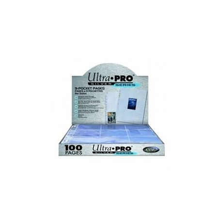 UP - Silver 9-Pocket Pages (3 Hole) Display (100 Pages)