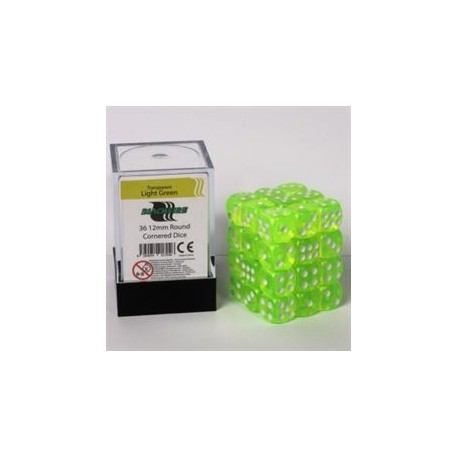 Blackfire Dice Cube - 12mm D6 36 Dice Set - Transparent Light Green