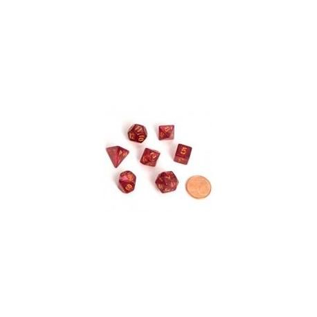 Blackfire Dice - Fairy Dice RPG Set - Marbled Red (7 Dice)