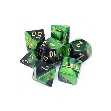 Chessex Gemini Polyhedral 7-Die Set - Black-Green w/gold