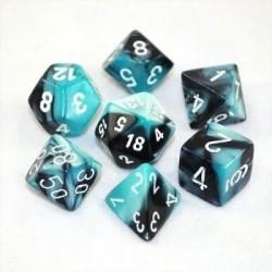 Chessex Gemini Polyhedral 7-Die Set - Black-Shell w/white