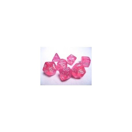 Chessex Borealis Polyhedral Pink/silver Luminary 7-Die Set